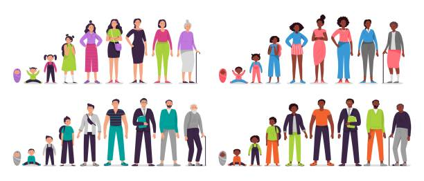 ilustrações de stock, clip art, desenhos animados e ícones de different ages people characters. little baby, boy and girl kids, african teenagers, adult man and woman, old seniors. people generations vector illustration set. male and female life cycle stages - adulto