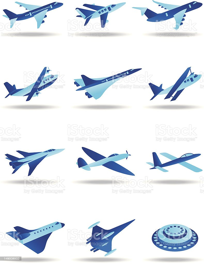 Different airplanes in flight icons set vector art illustration