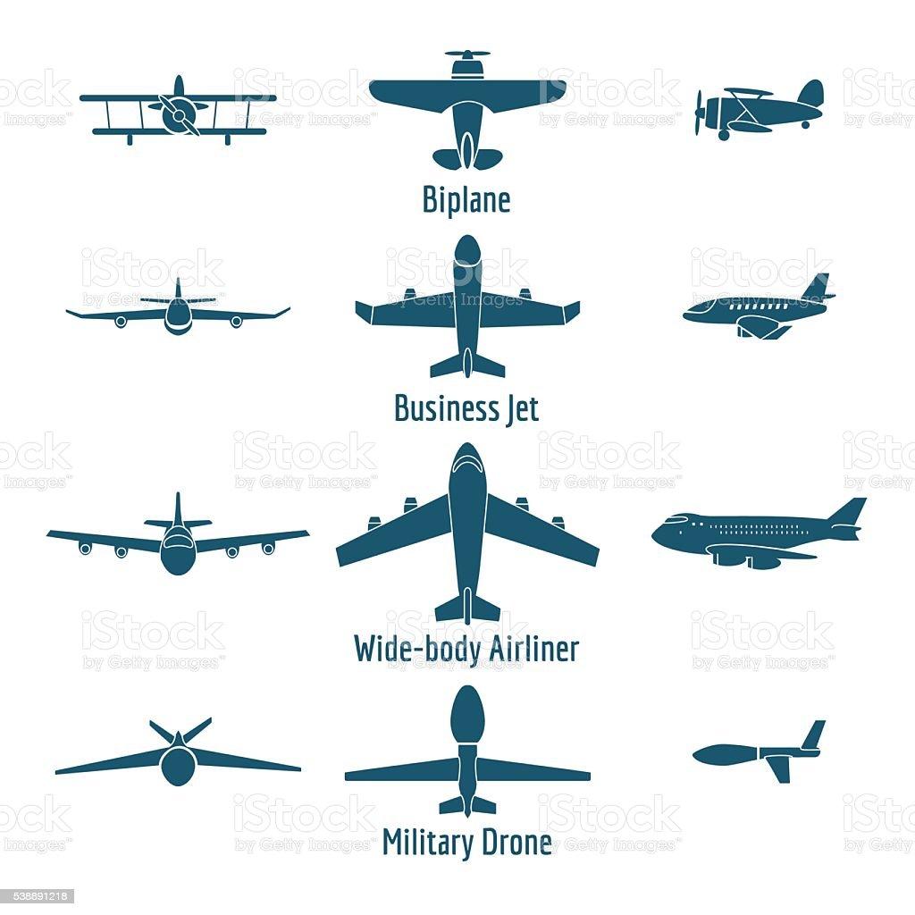 Ilustraci 243 N De Diferentes Tipos De Aviones Y M 225 S Banco De