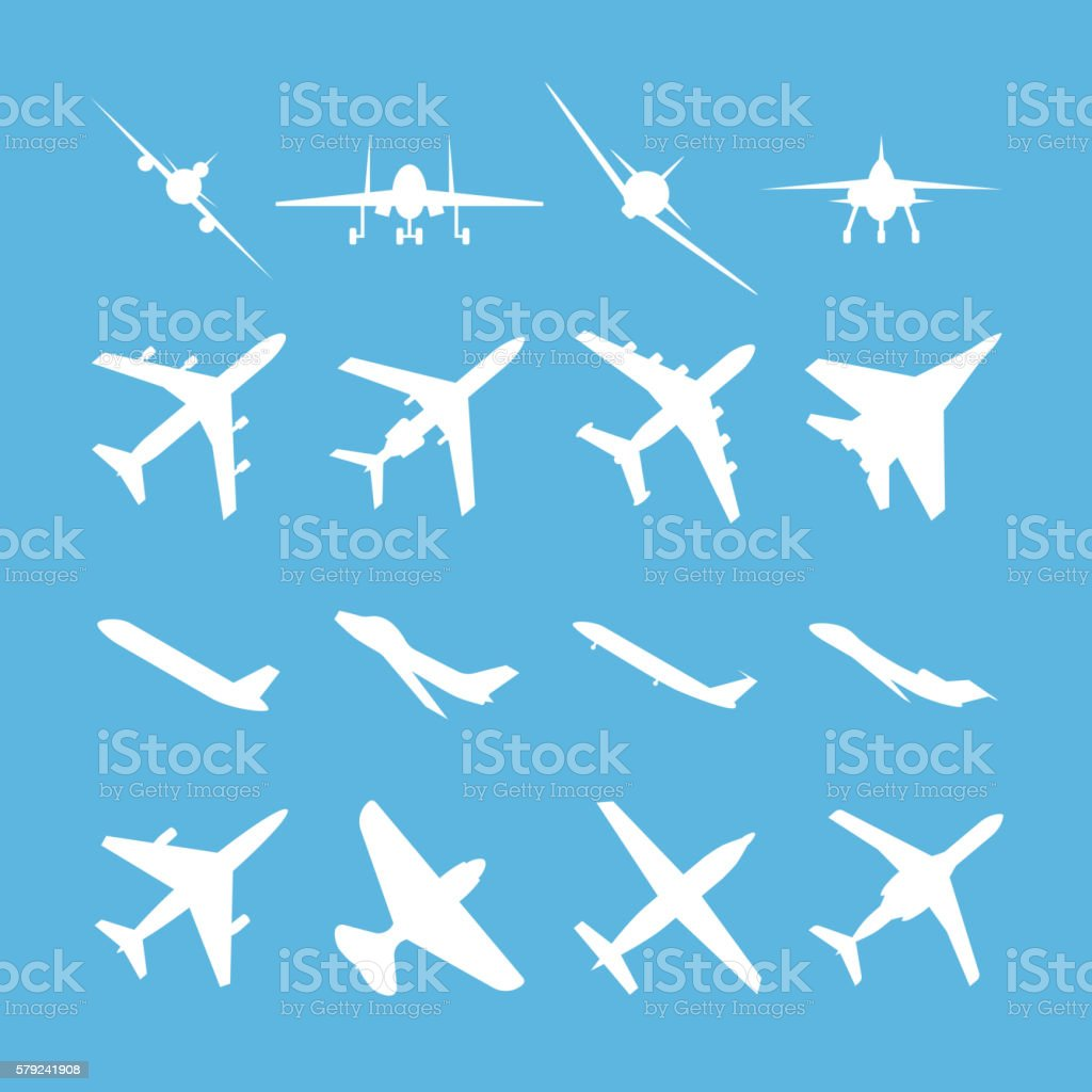 Different airplanes vector icon set vector art illustration