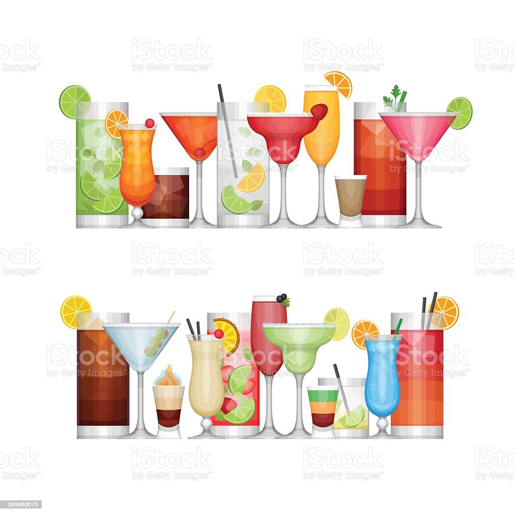 Different alcohol cocktail. Drinks and beverages. vector art illustration