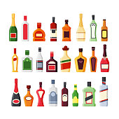 Different alcohol glass bottles flat vector icons color set. Bar beverages, booze collection. Wine, whiskey, rum, vodka, cognac, tequila drinks. Liquors cartoon illustrations isolated on white