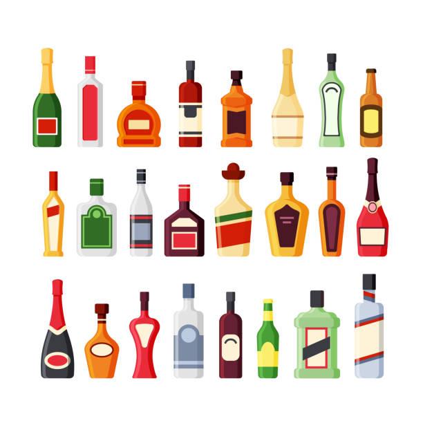 ilustrações, clipart, desenhos animados e ícones de diferentes garrafas de vidro de álcool flat vector ícones cor conjunto - bebida alcoólica