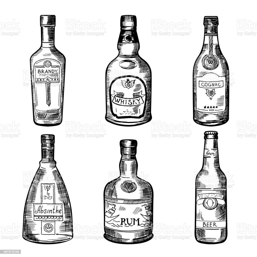 Verschiedene Alkoholische Getränke In Flaschen Vektorillustration ...