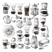 different alternative brewing for coffee set collection syphon chemex cezve pour vector illustration