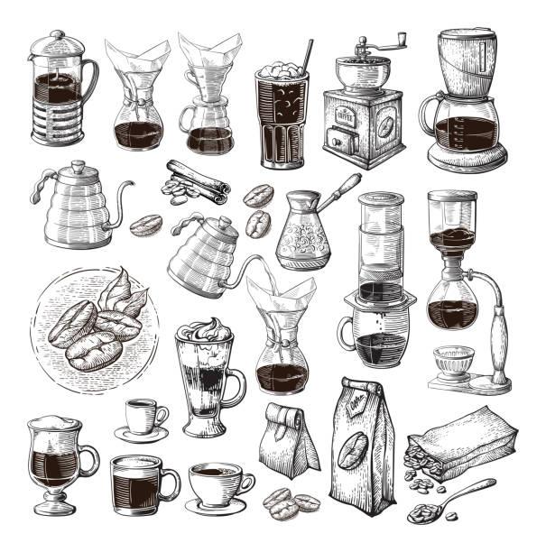 ilustrações, clipart, desenhos animados e ícones de cerveja alternativas diferentes para café conjunto coleção sifão chemex cezve pour - café