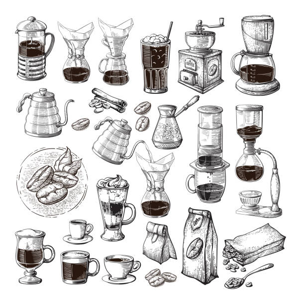 different alternative brewing for coffee set collection syphon chemex cezve pour different alternative brewing for coffee set collection syphon chemex cezve pour vector illustration coffee crop stock illustrations