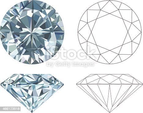 istock Different angles of a diamond in color and black and white 466123518
