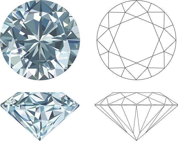 stockillustraties, clipart, cartoons en iconen met different angles of a diamond in color and black and white - diamantvorm
