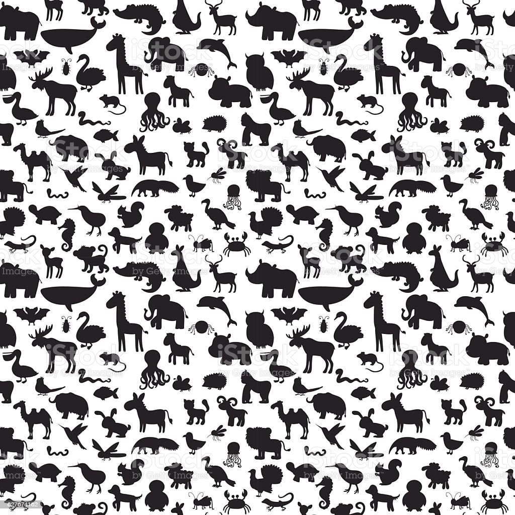 Different animals silhouettes seamless pattern. Cute background vector art illustration
