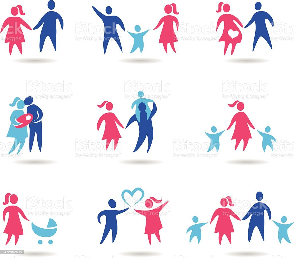 A different assortment of red and blue family icons  vector art illustration