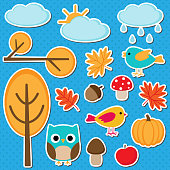 Cute vector set of different autumn elements