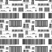 Different barcodes on white, seamless pattern