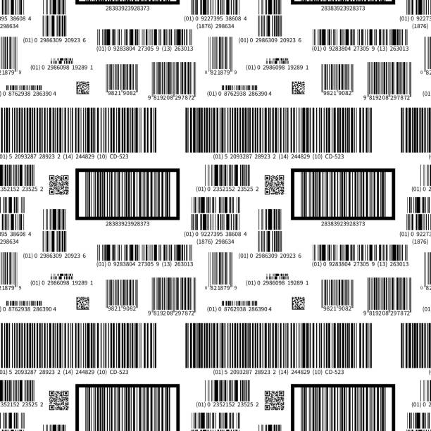 Different barcodes on white, seamless pattern vector art illustration
