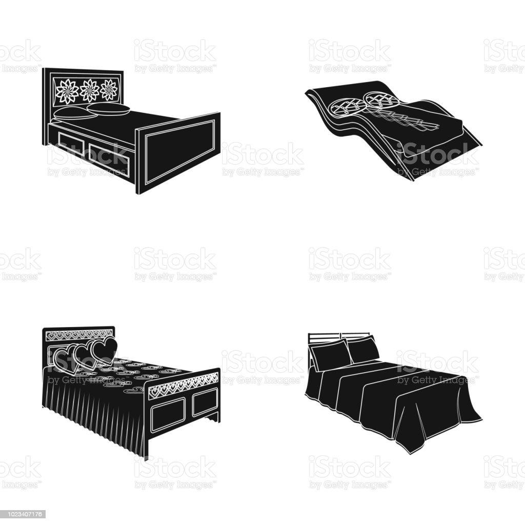 verschiedene betten schwarze symbole im set sammlung fur design mobel zum schlafen isometrische symbol lager