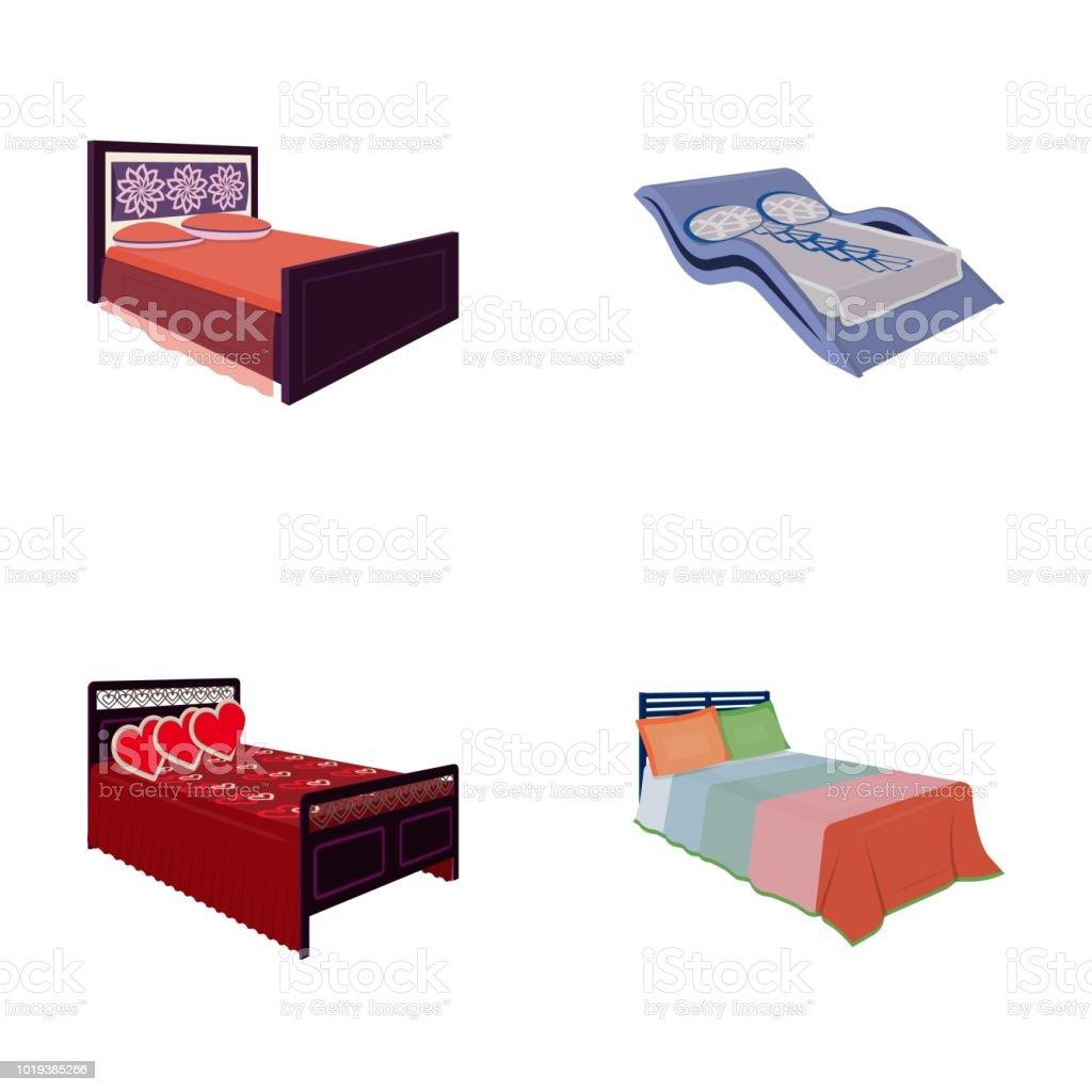 verschiedene betten cartoon symbole im set sammlung fur design mobel zum schlafen isometrische symbol lager