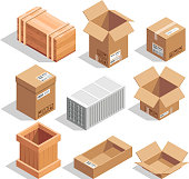 Different big delivery packages. Warehouse or shipping closed and opening boxes. Isometric vector illustrations