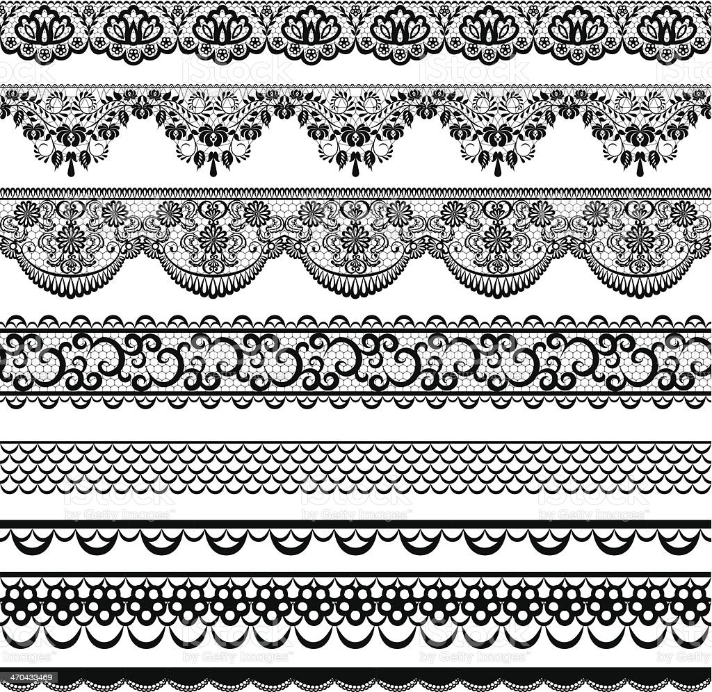 Different black and white lace borders vector art illustration