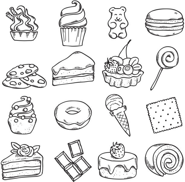 Different black and white sweets icons set in sketch style. Different black and white sweets icons set in sketch style. cake drawings stock illustrations