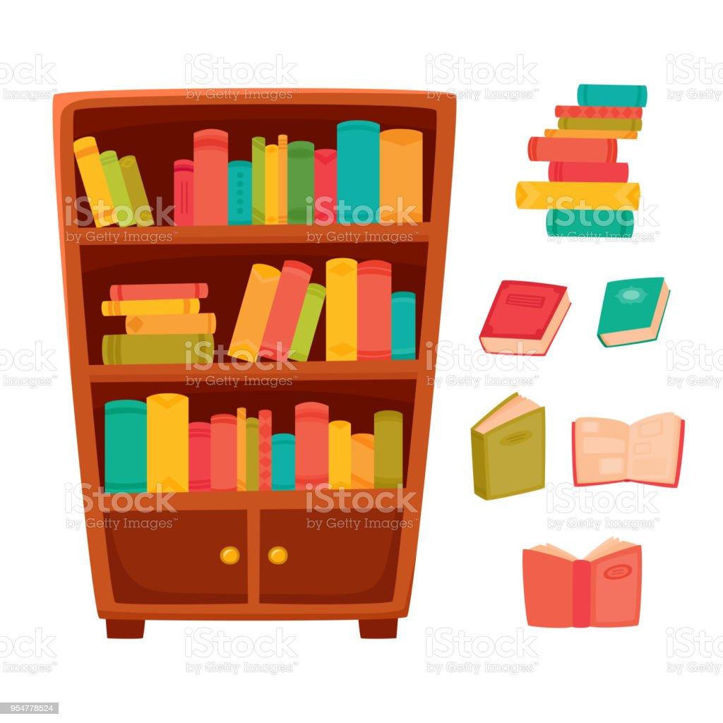 Different books on the shelves of wooden bookcase. vector art illustration