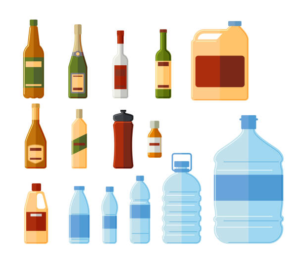 Different bottles and water containers vector illustration Different bottles and water containers vector illustration. Glass and termo, medicine and chemical bottle set isolated on white background drawing of a glass liquor flask stock illustrations