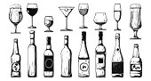 Different bottles with alcohol and different glasses. Vector illustration in sketch style.