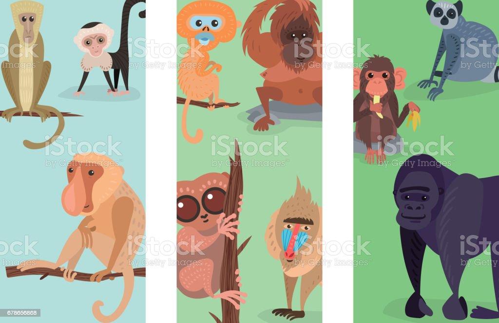 Different breads monkey print cards character animal wild zoo ape chimpanzee vector illustration vector art illustration