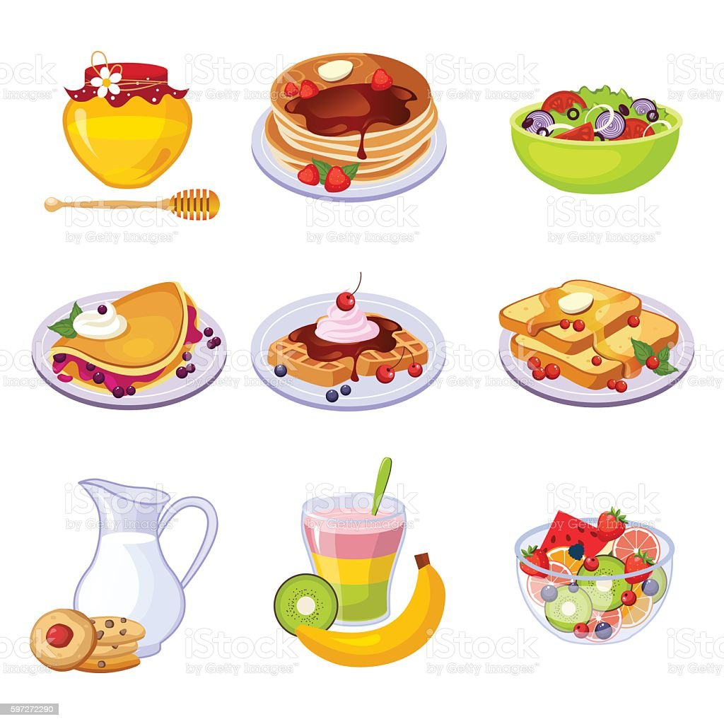 Different Breakfast Dishes Assortment Set Of Isolated Icons royalty-free different breakfast dishes assortment set of isolated icons stock vector art & more images of breakfast