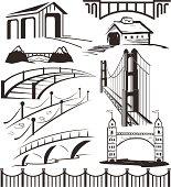 Different bridge clip art in black and white