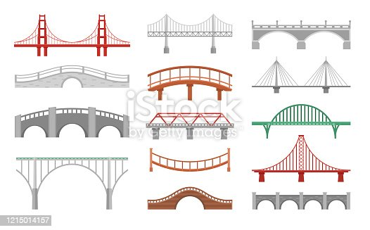 Different bridges flat vector illustrations set. Various bridgeworks isolated on white background. Big urban and small wooden bridges pack. Huge city landmarks and simple passages collection