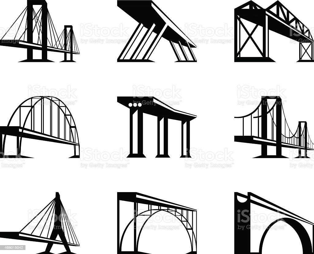 Different bridges in perspective vector art illustration