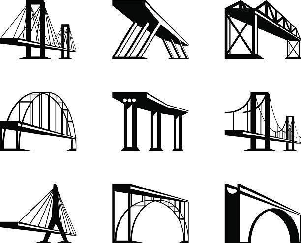 mosty w różne perspektywy - bridge stock illustrations