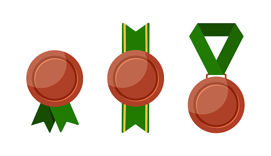 Different bronze medals isolated on white backgorund.