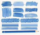 Different brushstrokes of blue ink illustration