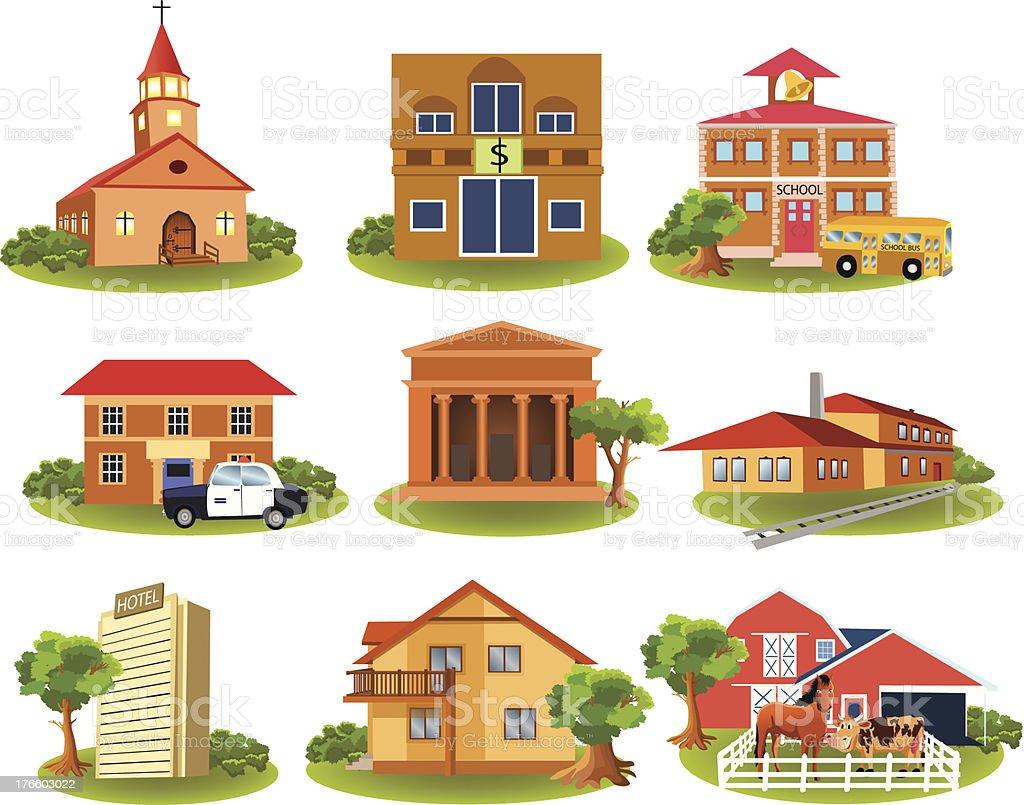 places different buildings cartoon vector illustration arranging vectors barn structure bus built