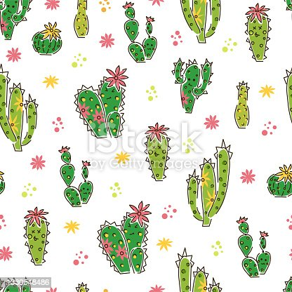 istock Different cacti and flowers seamless pattern on a white background. Vector background with desert green plants. 1330548486