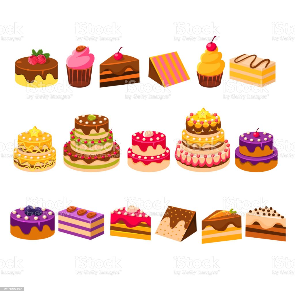 Different Cakes Collection vector art illustration