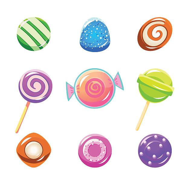illustrations, cliparts, dessins animés et icônes de ensemble de différents bonbons - pastille