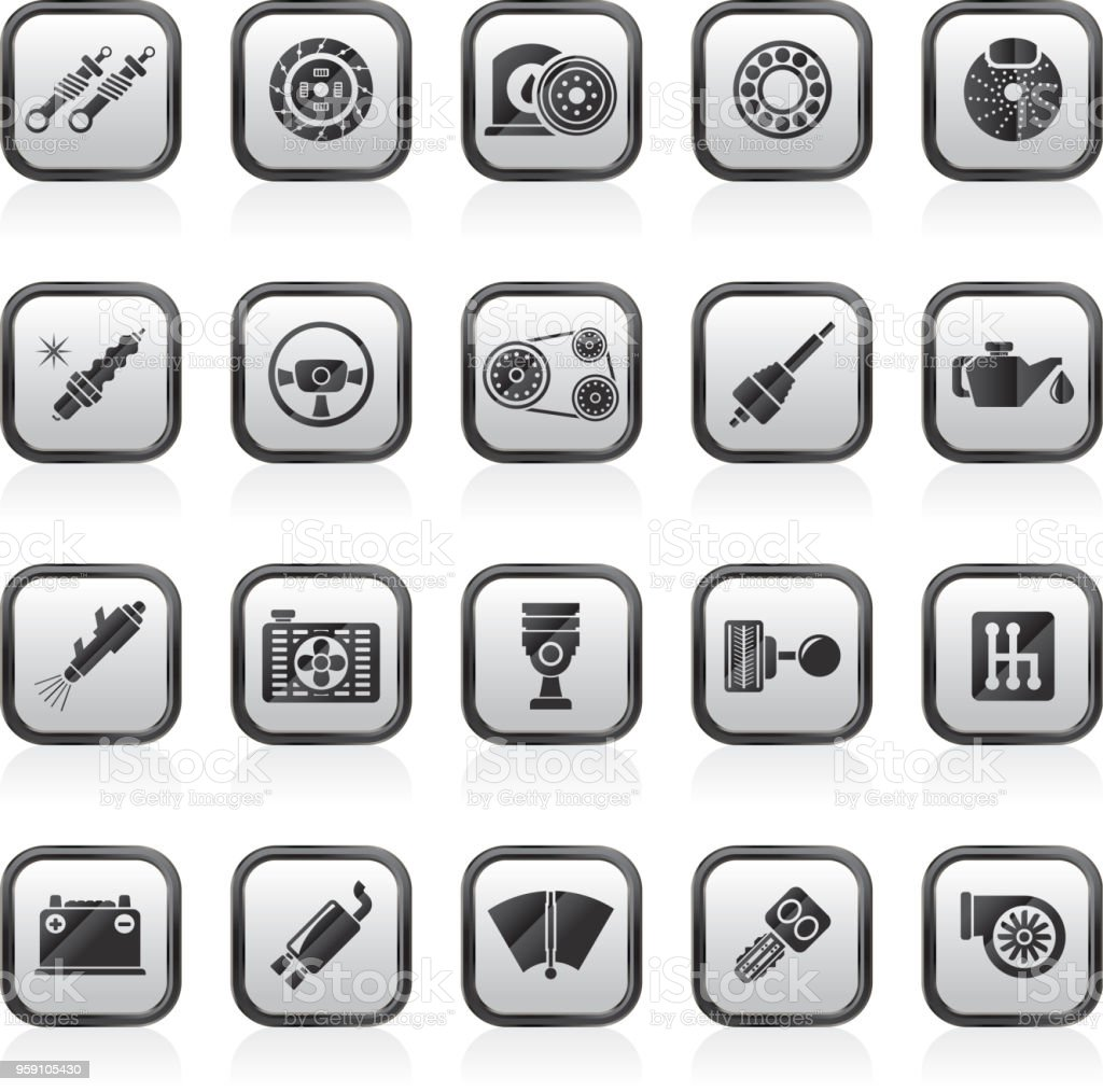 Different Car part and services icons vector art illustration