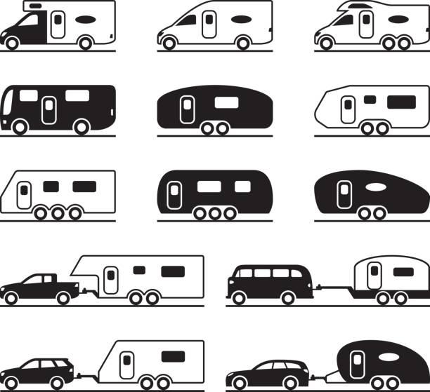 stockillustraties, clipart, cartoons en iconen met verschillende caravans en campers - caravan
