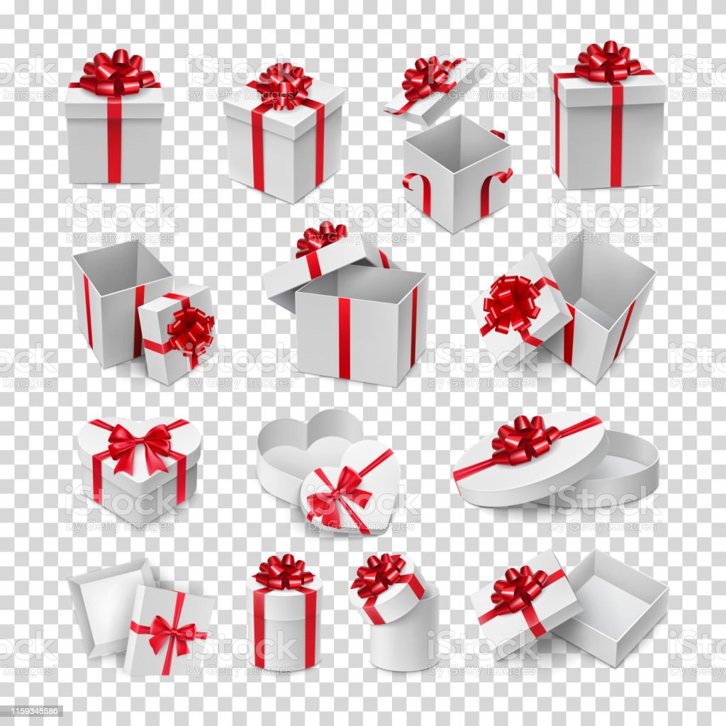 Different cardboard boxes with red ribbon bows mockup. Christmas or...