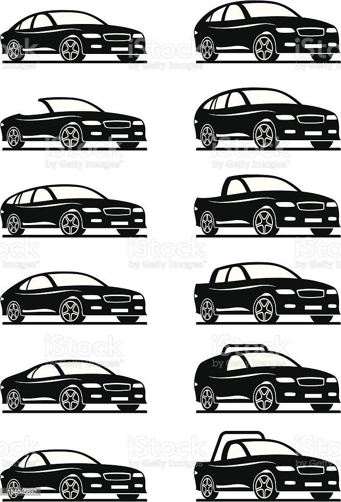 Different cars and off road vector art illustration