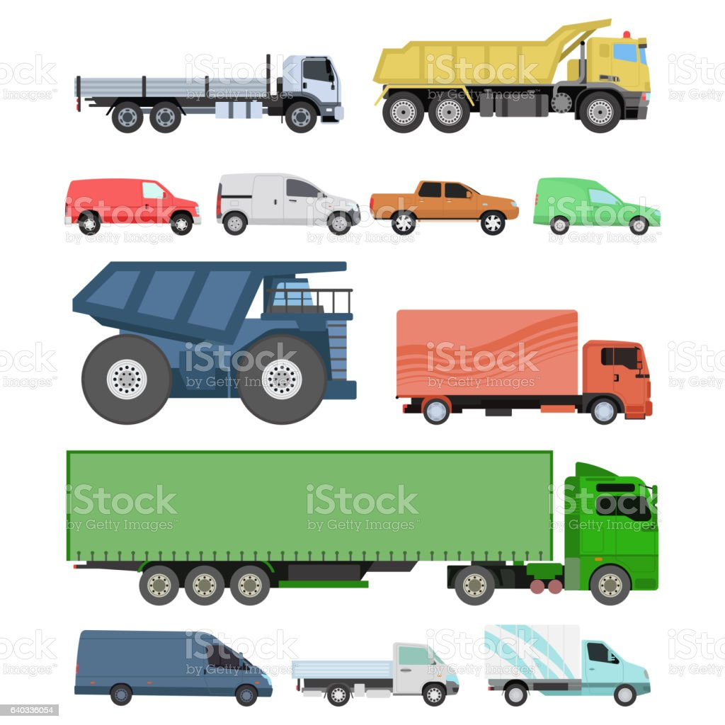 Different cars transport vector set. vector art illustration