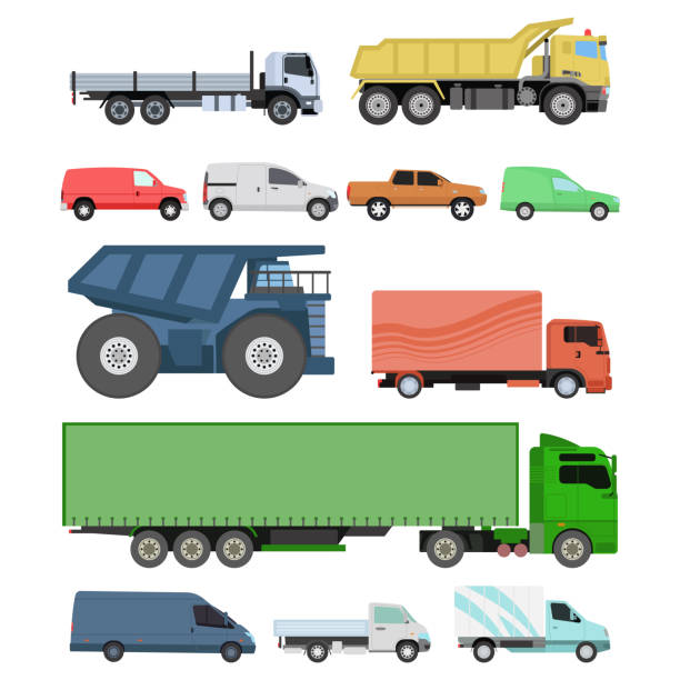 Different cars transport vector set. vector art illustration