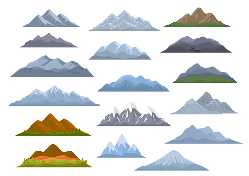 different  cartoon mountains set, isolated graphic vector illustration clipart