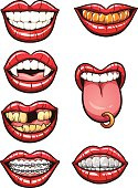 7 different cartoon mouths with lips and teeth