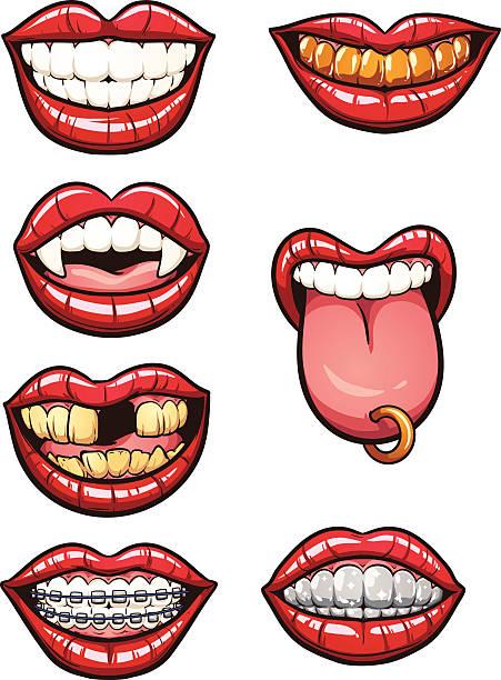 illustrazioni stock, clip art, cartoni animati e icone di tendenza di fumetto di bocca - lingua umana