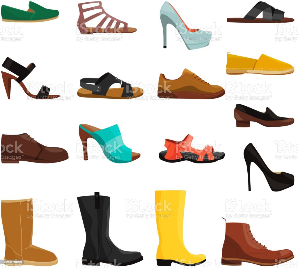 Different casual shoes of men and women. Vector pictures set vector art illustration