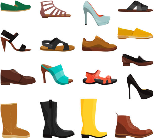 Different casual shoes of men and women. Vector pictures set Different casual shoes of men and women. Vector pictures set. Fashion footwear and boots woman and man illustration shoe stock illustrations