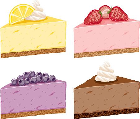 Different Cheesecake Flavor Icon Set
